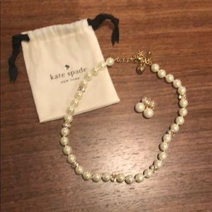 Kate Spade Pearl/Rhinestone Necklace/Drop earrings